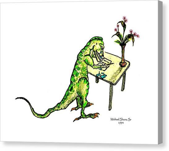 Dinosaur Get Well Sorry Miss You Condolences Sympathy Blank Canvas Print