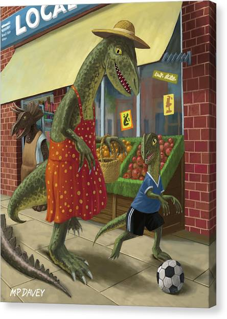 Dinosaur Mum Out Shopping With Son Canvas Print