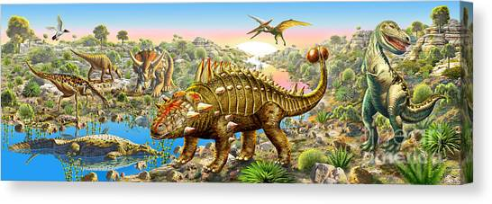 Tyrannosaurus Canvas Print - Dinosaur Panorama by Adrian Chesterman