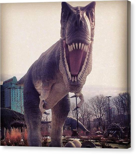Dinosaurs Canvas Print - #dinosaur #trex #tyranosaur #golf by Shane Gabriel