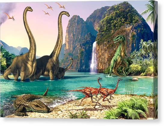 Tyrannosaurus Canvas Print - Dinosaur Volcanos - Crop Left by Steve Read