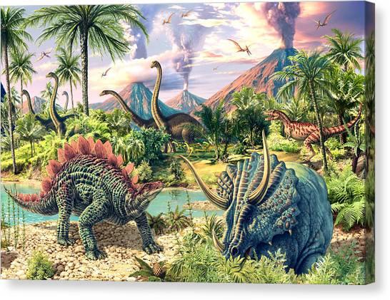 Tyrannosaurus Canvas Print - Dinosaur Volcanos - Crop Right by Steve Read