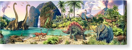 Tyrannosaurus Canvas Print - Dinosaur Volcanos by Steve Read