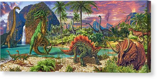 Tyrannosaurus Canvas Print - Dinosaur Volcanos Variant 4 by Steve Read