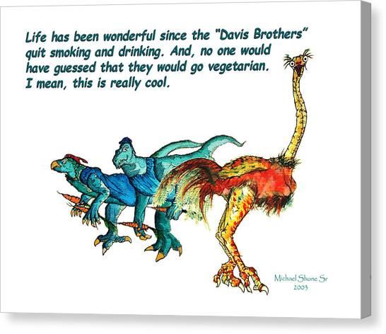 Dinosaurs Quit Drinking Go Vegetarian Canvas Print