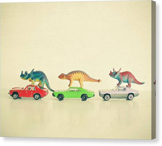 Dinosaurs Canvas Print - Dinosaurs Ride Cars by Cassia Beck