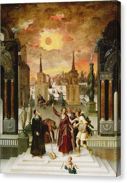 Celestial Globe Canvas Print - Dionysius The Areopagite Converting The Pagan Philosophers, 1570s Oil On Panel by Antoine Caron