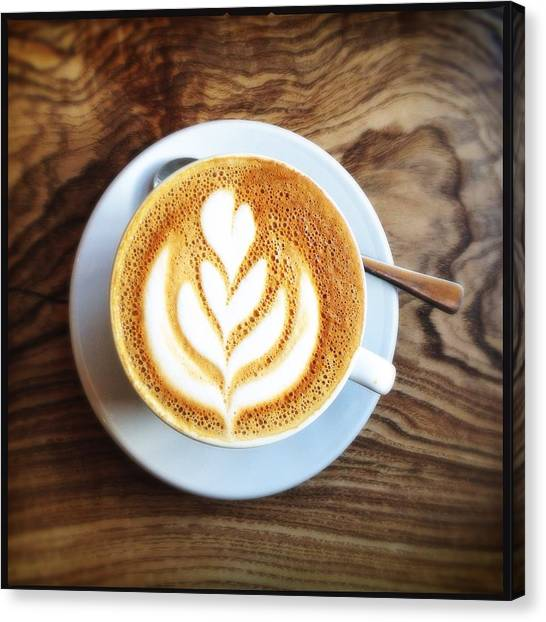 Directly Above Shot Of Coffee On Table Canvas Print by André Krüger / Eyeem