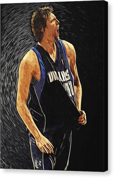 Milwaukee Bucks Canvas Print - Dirk Nowitzki by Zapista