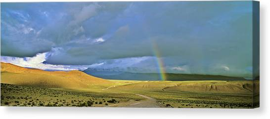Andes Mountains Canvas Print - Dirt Road With Rainbow, Altiplano by Martin Zwick