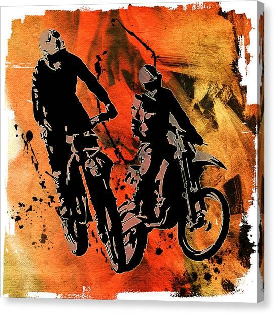Dirt Bikes Canvas Print - Dirtbiker Duo Red Orange And Black Mud Splatters by Elaine Plesser