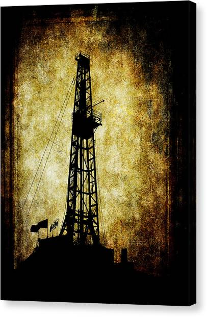 Fracking Canvas Print - Dirty Derrick by Daniel Hagerman