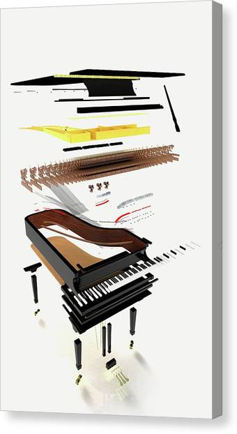 Pianos Canvas Print - Disassembled Parts Of A Grand Piano by Dorling Kindersley/uig
