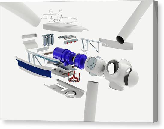 Separation Canvas Print - Disassembled Parts Of A Wind Turbine by Dorling Kindersley/uig