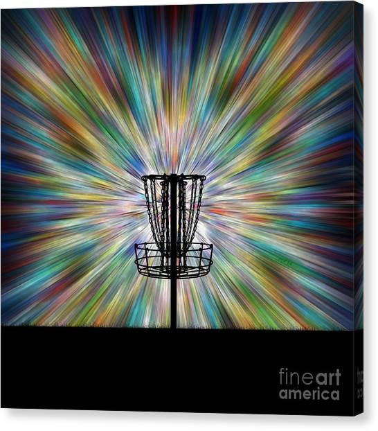 Disc Golf Canvas Print - Disc Golf Basket Silhouette by Phil Perkins