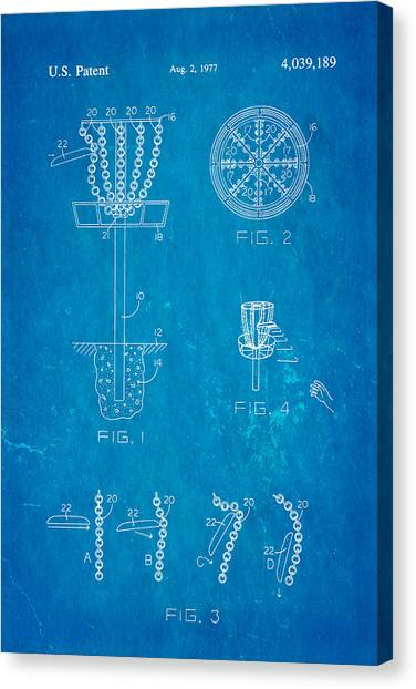 Disc Golf Canvas Print - Disc Golf - Frisbee Golf Patent Art 1977 Blueprint by Ian Monk