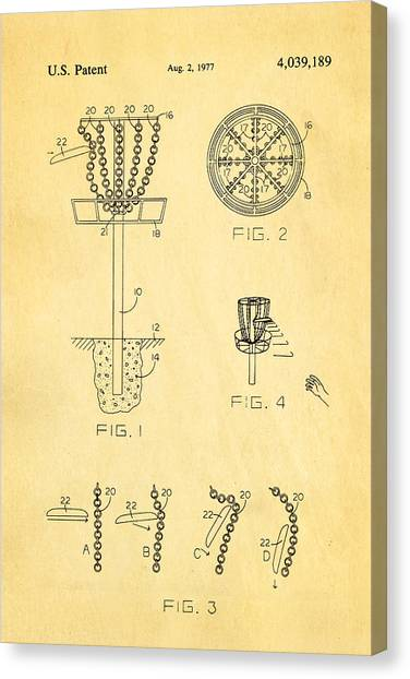 Disc Golf Canvas Print - Disc Golf - Frisbee Golf Patent Art 1977 by Ian Monk