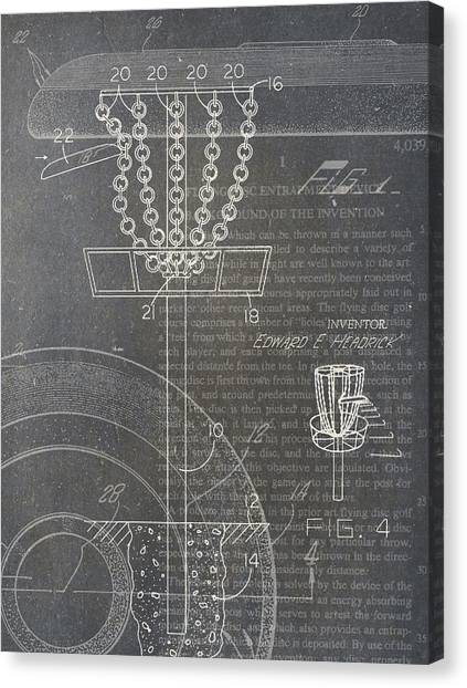 Disc Golf Canvas Print - Disc Golf Patent by Nick Pappas