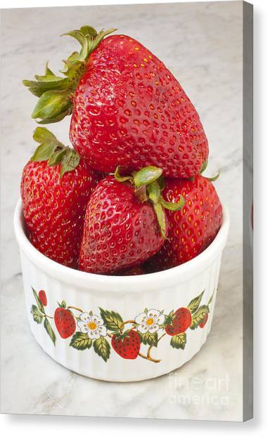 Dish Of Strawberries  Canvas Print by Jonathan Welch