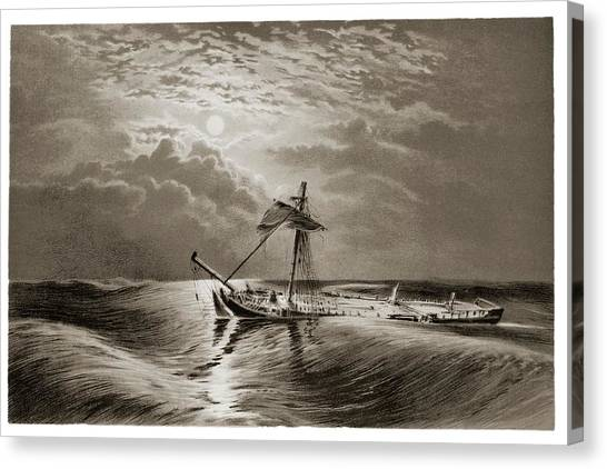 Drown Canvas Print - Dismasted Ship After A Storm. by David Parker/science Photo Library