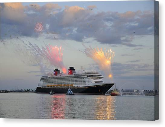 Disney Fantasy And Fireworks Canvas Print