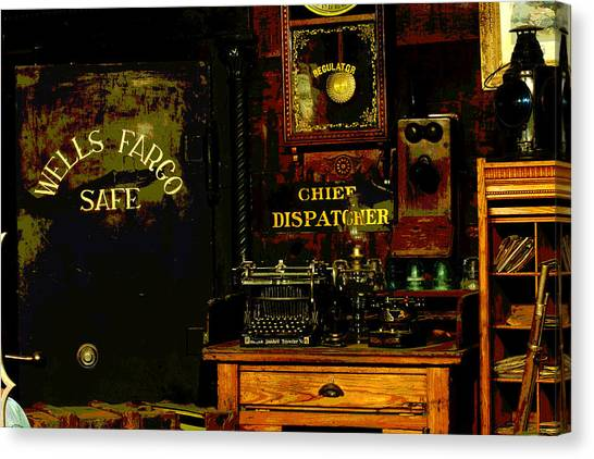 Timeworn Canvas Print - Dispatcher's Office by Mike Flynn