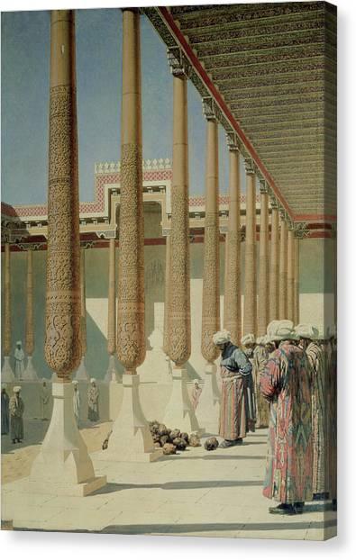 Muslim Canvas Print - Display Of Trophies, 1871-72 Oil On Canvas by Vasili Vasilievich Vereshchagin