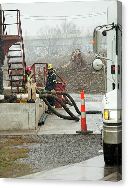 Fracking Canvas Print - Disposal Of Fracking Waste by Jim West