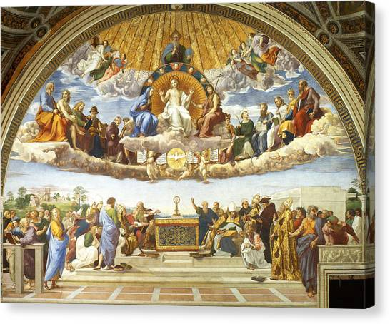 Canvas Print featuring the painting Disputation Of Holy Sacrament. by Raphael