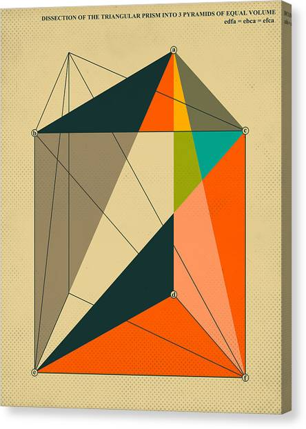 Abstract Canvas Print - Dissection Of The Triangular Prism Into 3 Pyramids Of Equal Volume by Jazzberry Blue