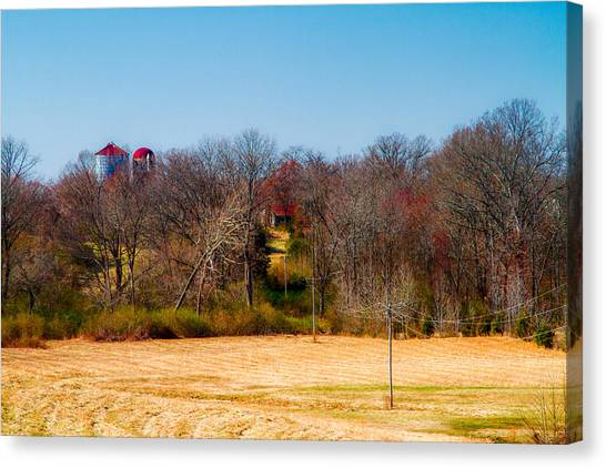 Distant Barns - Rural Art Canvas Print by Barry Jones