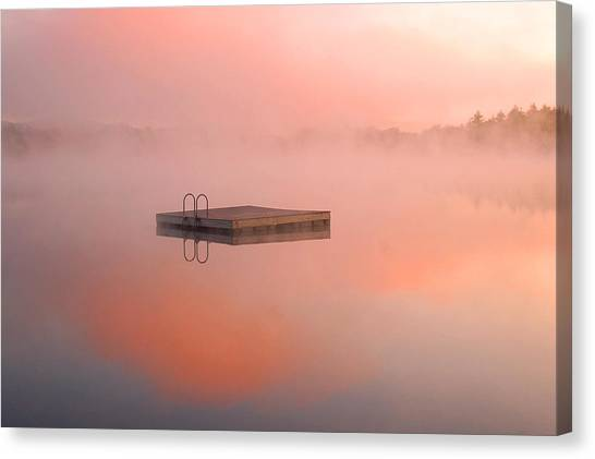 Distant Dock At Sunrise Canvas Print