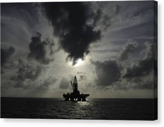 Distant Offshore Oil Rig Canvas Print