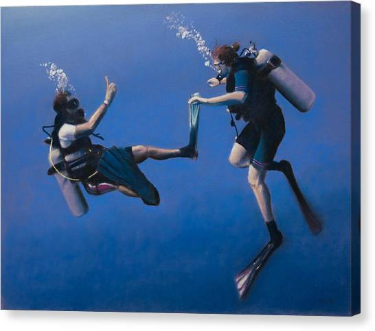 Scuba Diving Canvas Print - Divers by Christopher Reid