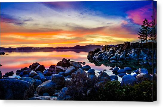 Lake Tahoe Canvas Print - Diver's Cove Lake Tahoe Sunset by Scott McGuire