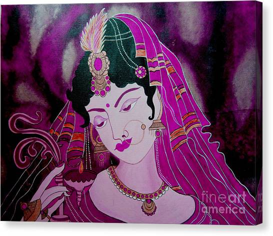 Diya Girl Canvas Print by Priyanka Rastogi