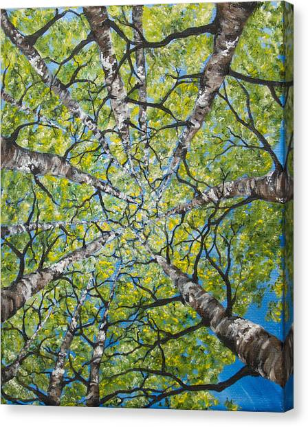 Canvas Print featuring the painting Dizzy Aspens by Melinda Cummings