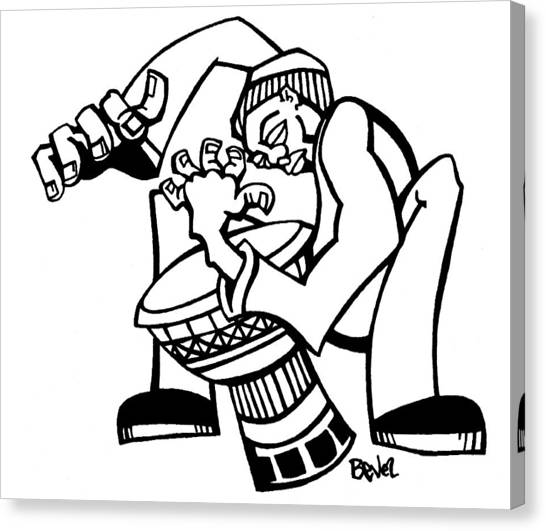 Djembe Canvas Print - Djembe Drummer by Charles Bevel