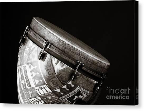 Djembe Canvas Print - Djembe Latin Or African Drum Photograph In Sepia 3331.01 by M K  Miller