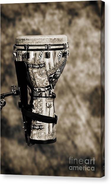 Djembe Canvas Print - Djembe Or Djambe Africa Culture Drum In Sepia 3242.01 by M K  Miller