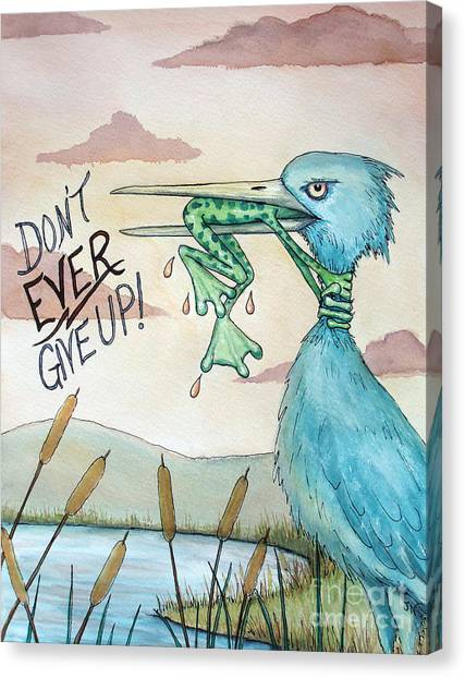 Heron Canvas Print - Do Not Ever Give Up by Joey Nash