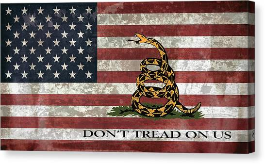 Rattlesnakes Canvas Print - Do Not Tread On Us Flag by Daniel Hagerman