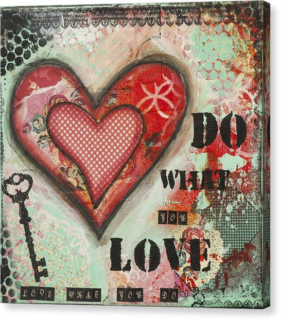 Do What You Love Inspirational Mixed Media Folk Art Canvas Print