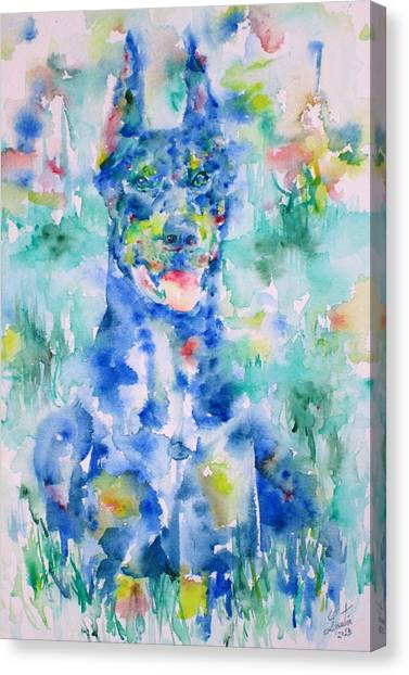 Doberman Pinschers Canvas Print - Doberman In The Grass - Watercolor Portrait by Fabrizio Cassetta