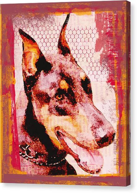 Doberman Love Canvas Print