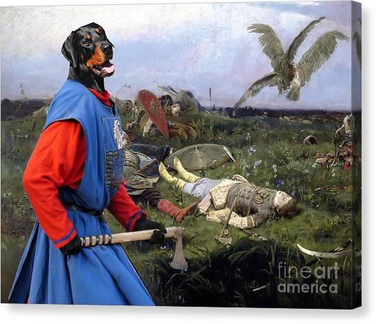 Doberman Pinschers Canvas Print - Doberman Pinscher Art - After The Battle by Sandra Sij