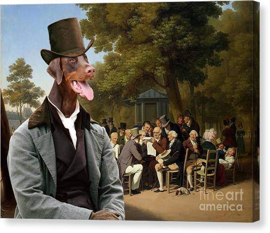 Doberman Pinschers Canvas Print - Doberman Pinscher Art - Politicians In The Tuileries Gardens by Sandra Sij