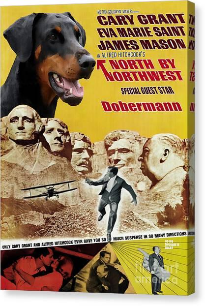 Doberman Pinschers Canvas Print - Doberman Pinscher Art Canvas Print - North By Northwest Movie Poster by Sandra Sij