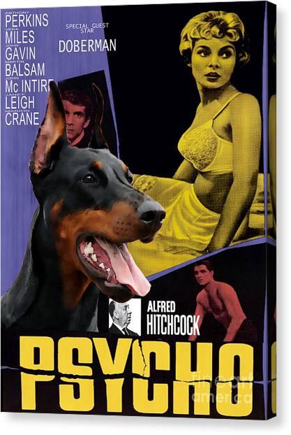 Doberman Pinschers Canvas Print - Doberman Pinscher Art Canvas Print - Psycho Movie Poster by Sandra Sij