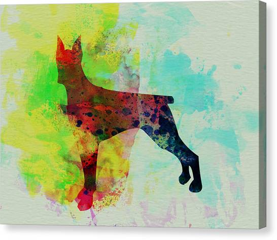Doberman Pinschers Canvas Print - Doberman Pinscher Watercolor by Naxart Studio